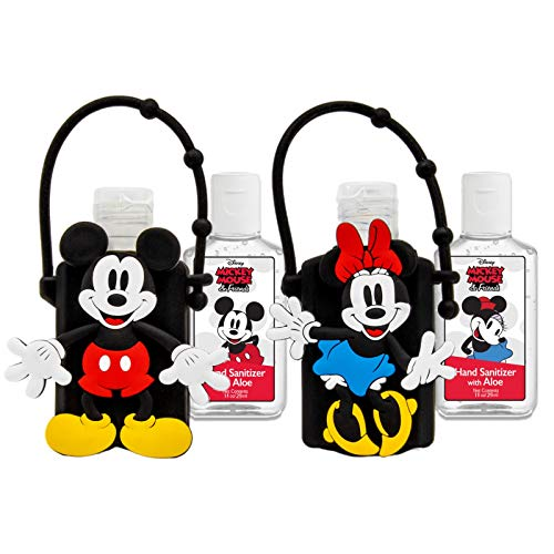 DISNEY Portable Hand Sanitizer with Holder - Travel Sized Flip Cap Bottles - Clip on Backpacks - Refillable - ( Pair 1 Mickey & 1 Minnie, 2)