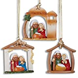 Set of 3 NATIVITY Christmas ORNAMENTS - Holy Family MANGER Scene Decorations DECOR Jesus Mary & Joseph GIFT Collectable