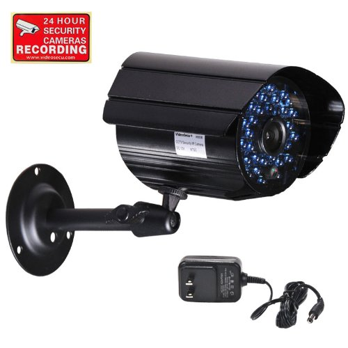 VideoSecu Day Night CCTV Bullet Security Camera Outdoor 520TVL 36 Infrared LEDs IR Cut Filter for DVR Surveillance System with Power Supply and Bonus Security Warning Sticker IR807B CX2