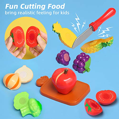 Shimfun Play Kitchen Accessories, 35Pcs Pretend Play Food & Cooking Toys for Toddlers, Kids Kitchen Playset with Utensils Pots and Pans, Cutting Food Fruit and Vegetables - Gifts for Girls & Boys