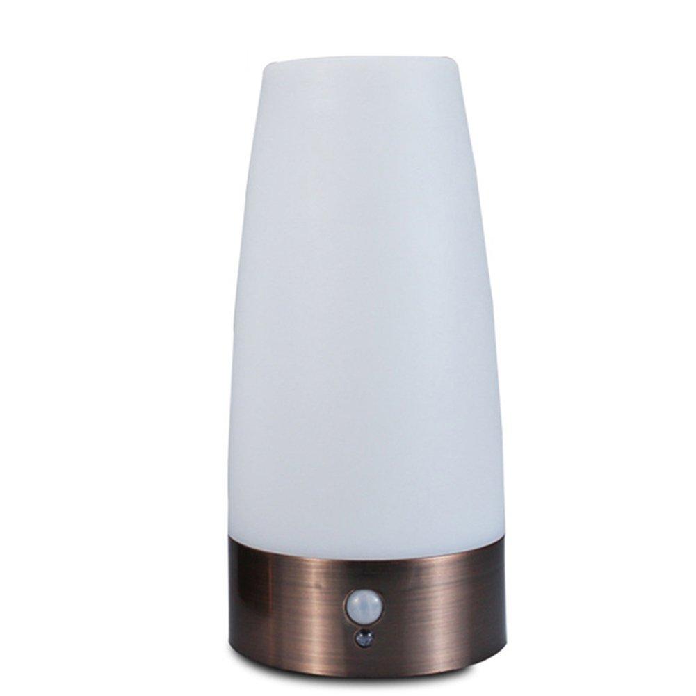 Dxlta LED Tischleuchte Nachtlicht Tischlampe mit PIR Bewegungssensor Lichtsensor Lampe Kabellos Batterie Betrieben