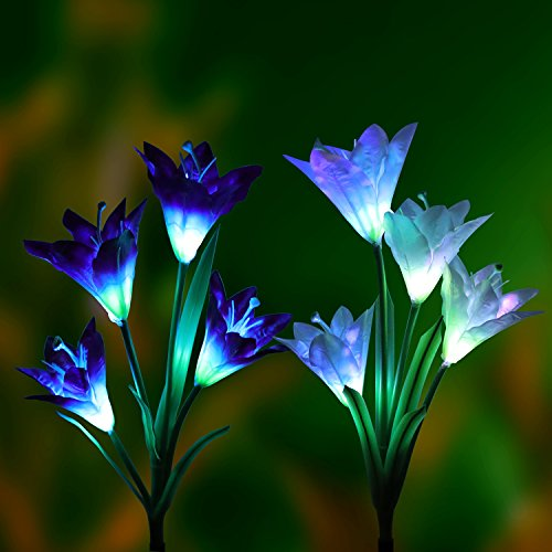 Solar Garden Lights Outdoor-2 Pack Denknova Solar Powered Garden Stake Lights with 8 Lily Flower, Multi-color Changing LED Solar Stake Lights for Garden,Patio,Backyard (Purple and White)