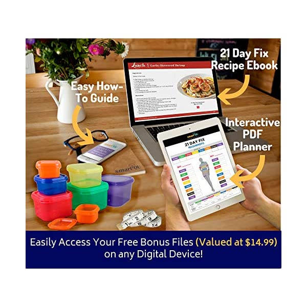 21 Day Portion Control Containers Kit – Nutrition Diet, Multi-Color Coded Weight Loss System. Complete Guide + PDF Planner + Recipe eBook and Tape Measure – BPA Free – 7 PC 51atMBoU5ML