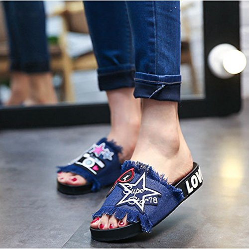 Embroidery Womens Summer Skid Non Cartoon Blue Flat Ladies Girls Sandals Jeans JULY T Style 5wTAq05