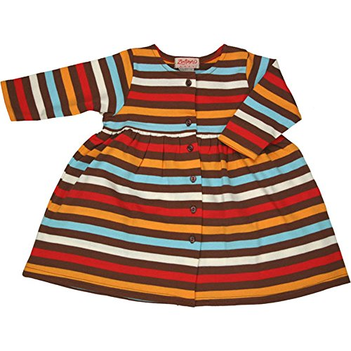 Zutano Chocolate 5 Color Stripe Long Sleeve Dress