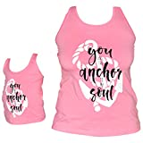 Unique Baby Girls Mommy & Me Racerback Anchor Tank Tops (2T/XS, Pink)