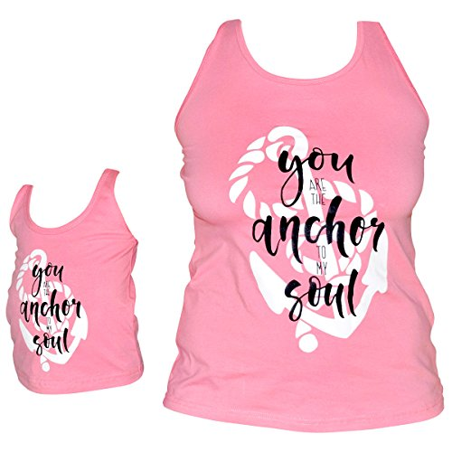 Unique Baby Girls Mommy & Me Racerback Anchor Tank Tops (2T/XS, Pink) by Unique Baby