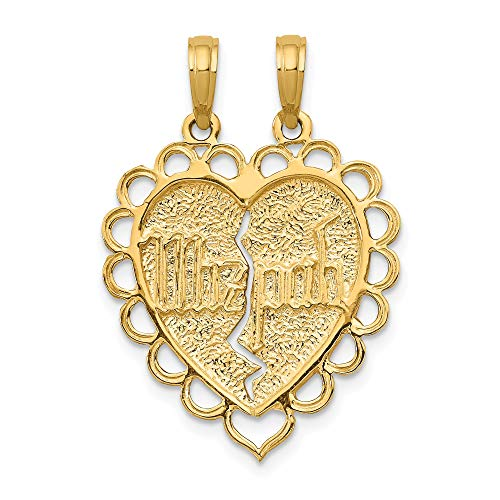 Bonyak Jewelry 14k Reversible Mizpah 2 Piece Break Apart Charm in 14k Yellow Gold ()