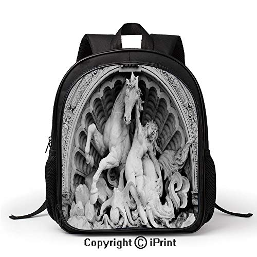 Personality Kids School School Bag A Struggling Nymph with Octopus Seashell Horse in a Lunette Sculpture Art in Bologna Backpack :Suitable for Men and Women,School,Travel,Daily use,etc,Grey