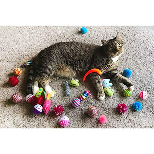 Cowfish Cat Toys Kitten Toys Assortments, 27PCS Variety Toy Set Including Cat Feather Teaser Wand, Feather Toys, Mice, Catnip Toys, Colorful Balls, Bells for Cat, Kitty, Kitten 7