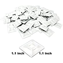Large, Premium Zip Tie Adhesive-Backed Mounts 100 Pack by Nova Supply. Pro-Grade, UV White Cable Tie Bases: 1.1 in x 1.1 in. Screw-Hole Anchor Point Gives High-Strength Durability for Long-Term Use