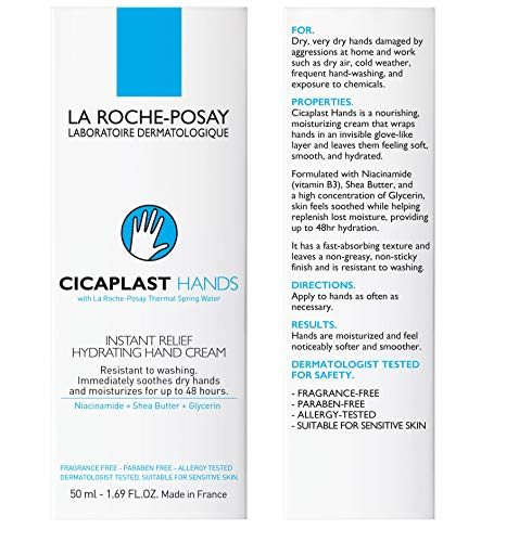 La Roche-Posay Cicaplast Hand Cream, Instant Relief Moisturizing Hand Lotion for Dry Hands, Fragrance Free, 1.69 fl. oz.