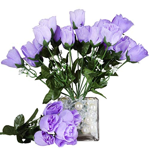 - BalsaCircle 84 Lavender Silk Rose Buds - 12 Bushes - Artificial Flowers Wedding Party Centerpieces Arrangements Bouquets Supplies
