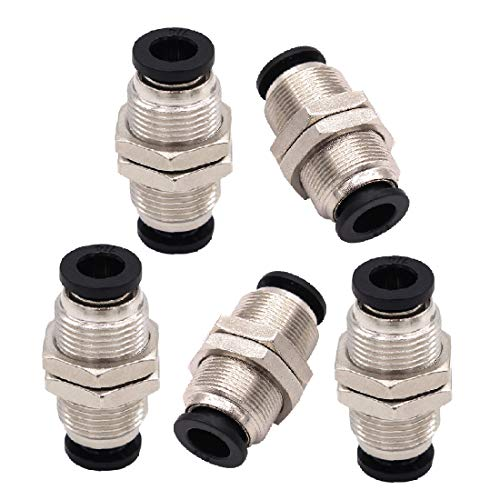 (Beduan Pneumatic Plastic Bulkhead Union Fitting 8mm Tube OD x 8mm Tube OD Push to Connect Air Fitting (Pack of 5))