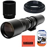 High-Power 500mm/1000mm f/8 Manual Telephoto Lens for Canon Digital EOS Rebel T1i, T2i, T3, T3i, T4i, T5, T5i, T6i, T6s, SL1, EOS60D, EOS70D, EOS80D, 50D, 40D, 30D, EOS 5D, EOS1D, EOS5D III, EOS 5Ds, EOS 6D, EOS 7D, EOS 7D Mark II Digital SLR Cameras - BLACK