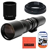 High-Power 500mm/1000mm f/8 Manual Telephoto Lens for Canon EOS Rebel T3, T3i, T4i, T5, T5i, T6, T6i, T6s, T7i, SL1, SL2, EOS 60D, 70D, 77D, 80D, 5D III, 5D IV, EOS 6D, 7D, 7D II Digital SLR Camera