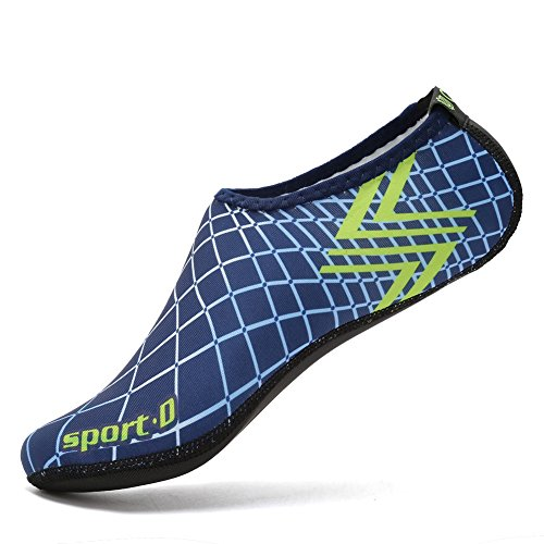 Cior 3ème Version Améliorée Durable Semelle Pieds Nus Eau Peau Chaussures Aqua Chaussettes Pour Plage Piscine Sable Nager Surf Yoga Aquagym 04w.blue