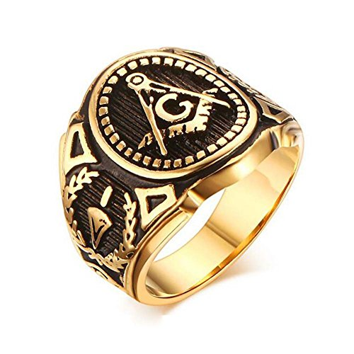 Gold Color Freemason Ring - stainless steel with classic center design, pin stripes, etched tool symbols (Masonic Rings for Sale) Sizes 7-13 (Size 10) (Center Stripe Ring)
