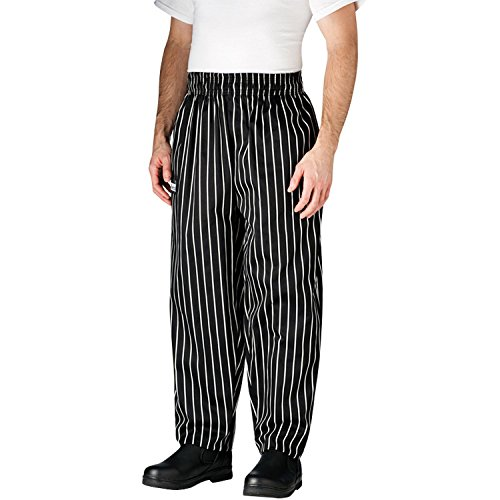 Chefwear Men's Unisex Baggy Cotton Chef Pant, Black Chalk Stripe, Large