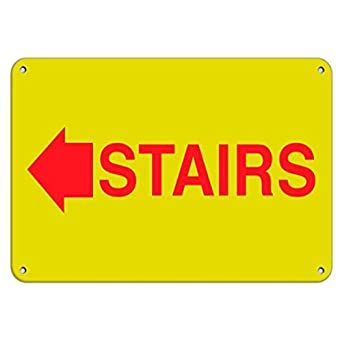 Amazon.com: Señal de la flecha de escaleras izquierda, señal ...