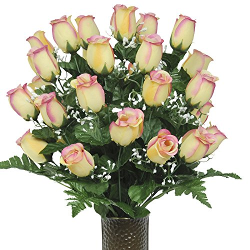 Two Tone Beauty Rose Artificial Bouquet, featuring the Stay-In-The-Vase Design(c) Flower Holder (MD1002)