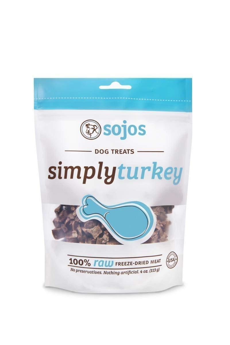 (2 Packs) Sojos Simply Turkey Raw Freeze Dried Grain Free Dog Treats, 4 Ounces Each