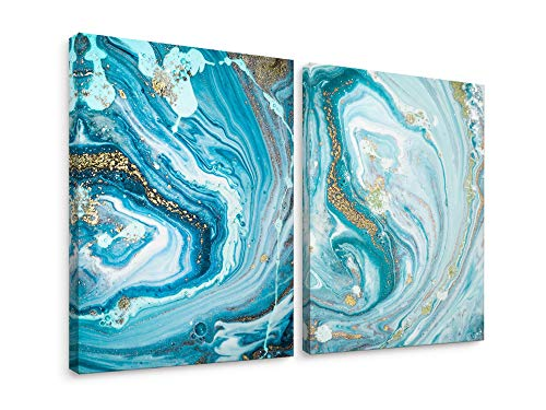 Niwo Art-Marble Abstract Combo A, Marble Series, Canvas Wall Art Decor,Framed Ready to Hang ()