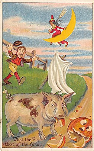 Witch on Moon, Pig Eating Pumpkin Halloween Postcard Old Vintage Post Card ()