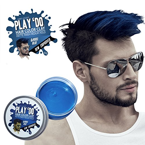 Play 'Do Temporary Hair Color, Hair Wax, Hair Clay, Mens Grooming, Blue hair dye(1.8 ounces)