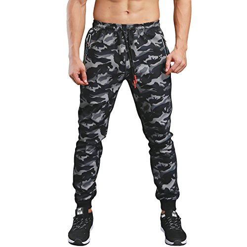 (KaiDi Men's Slim Fit Drawstring Classic Camo Joggers Pants Zipper Pockets (Black, M))