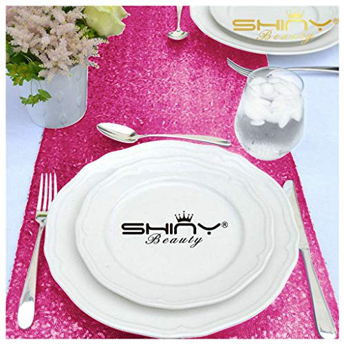 ShinyBeauty Sequin Table Runner or Dresser Scarves 13 by 90-Inch Hot Pink Pack of -