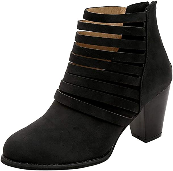 Peize Womens Square Heel Striped Hollow Out Ankle Vintage Boot Ladies Roman Shoes
