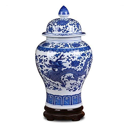 - ufengke Jingdezhen Classic Blue and White Porcelain Dragon Temple Ceramic Ginger Jar Vase,China Ming Style,Height 15