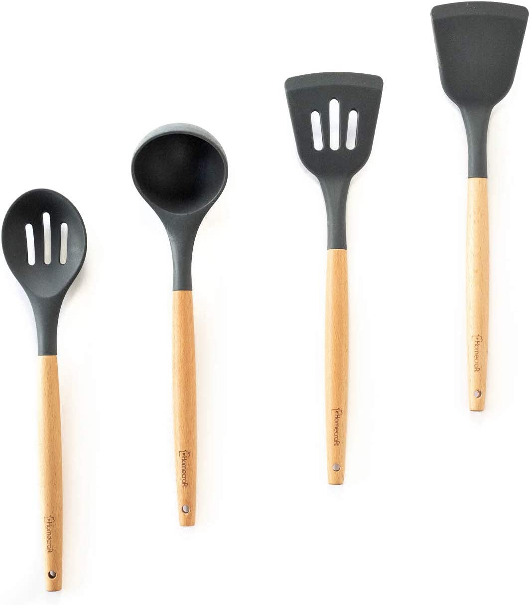 Homecraft Spatula and Spoon Cooking Utensil Set - Heat Resistant, Non-Stick, Silicone Kitchen Utensils with Solid Beechwood Handles - Spatulas, Slotted Spoon, Ladle - 4 Piece (Grey)