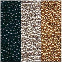 Metallic Miyuki Seed Bead Mix, Size 8/0, Galvanized Silver, Galvanized Gold And Black Opaque