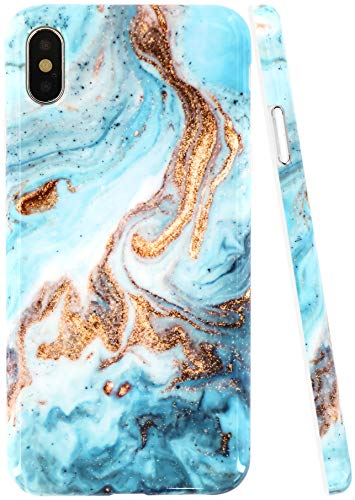 A-Focus Case for iPhone Xs MAX Case Marble, Smooth Yellow Blue Marble Rock Stone IMD Design Bumper Shock Proof Flexible Slim Rubber Silicone Case for iPhone Xs MAX 2018 6.5 inch Glossy Yellow (Coral Blue Iphone 5 Case)