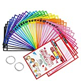 SUNEE Dry Erase Pockets 30 Packs - Reusable