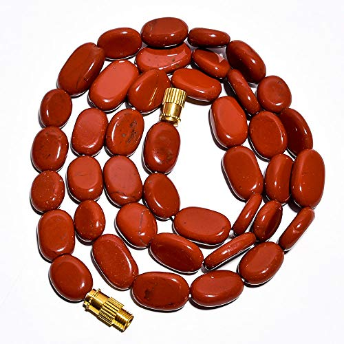 - Unique Beads Natural Red Jasper Gemstone Oval Beads Barrel Clasp Necklace 17