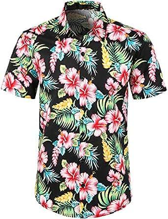 JOGAL Men's Flower Casual Button Down Short Sleeve Hawaiian Shirt Small A335 BlackHibiscus