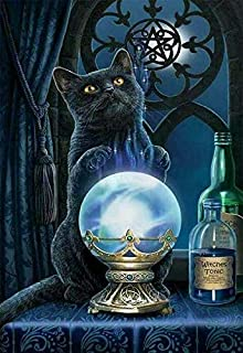 10x12 TINMI ARTS-5D Diamond Painting Witchs Black Cat Full Square-Kits for Adults DIY Mosaic Cross Stitch Pattern Handmade Embroidery Picture Kits Wall D/écor