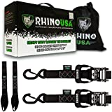 """RHINO USA Ratchet Straps Motorcycle Tie Down Kit, 5,208 Break Strength - Includes (2) Heavy Duty 1.6"""" x 8' Rachet Tiedowns with Padded Handles & Coated Chromoly S Hooks + (2) Soft Loop Tie-Downs…"""