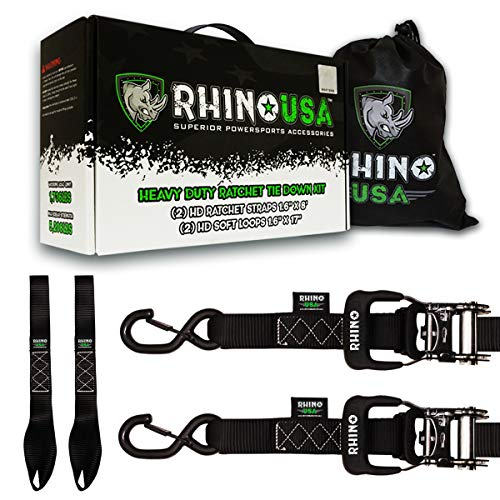 RHINO USA Ratchet Straps Motorcycle Tie Down Kit, 5,208 Break Strength - (2) Heavy Duty 1.6