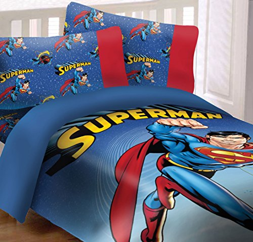Superman Universe 4 Piece Reversible Super Soft Luxury Full Size Comforter (Superman Full Comforter)