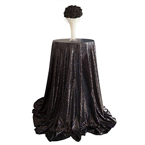 "SoarDream Sequin Tablecloth Black 50"" Round Wedding Glitter Tablecloth Sequin Glitter Tablecloth"