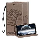 Embossed Leather Case for Samsung Galaxy S9 Plus,Samsung Galaxy S9 Plus Embossed Owl Cat Tree Flower PU Leather Wallet Soft TPU Flip Cover Magnetic Card Slot Holder with Detachable Hand Strap-Gray
