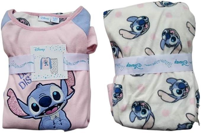 Pijama de forro polar suave con licencia de Disney Stitch para niñas de 4 a 15 años
