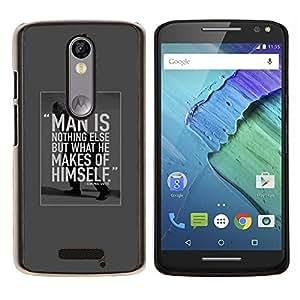 YiPhone /// Prima de resorte delgada de la cubierta del caso de Shell Armor - el hombre es estudiante de motivación inspiradora - Motorola Moto X3 3rd Generation