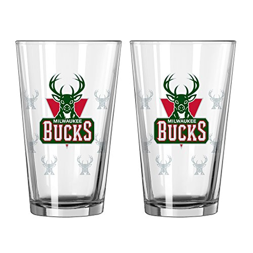 NBA Milwaukee Bucks Satin Etch Pint, 16-ounce, (Milwaukee Bucks Gear)