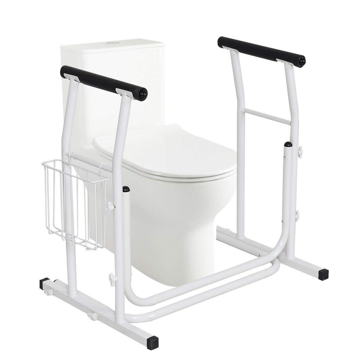 COSTWAY Medical Bathroom Toilet Rail Grab Bar and Commode Safety Frame Handle for Elderly, Senior, Handicap & Disabled - Padded Handrails, White by COSTWAY