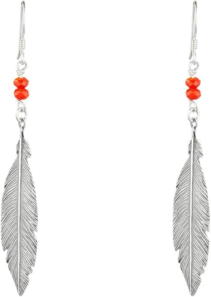 Córdoba Jewels | Pendientes en plata de ley 925 bañada en óxido con piedra semipreciosa. Diseño Indian Coral Swarovski Hippie